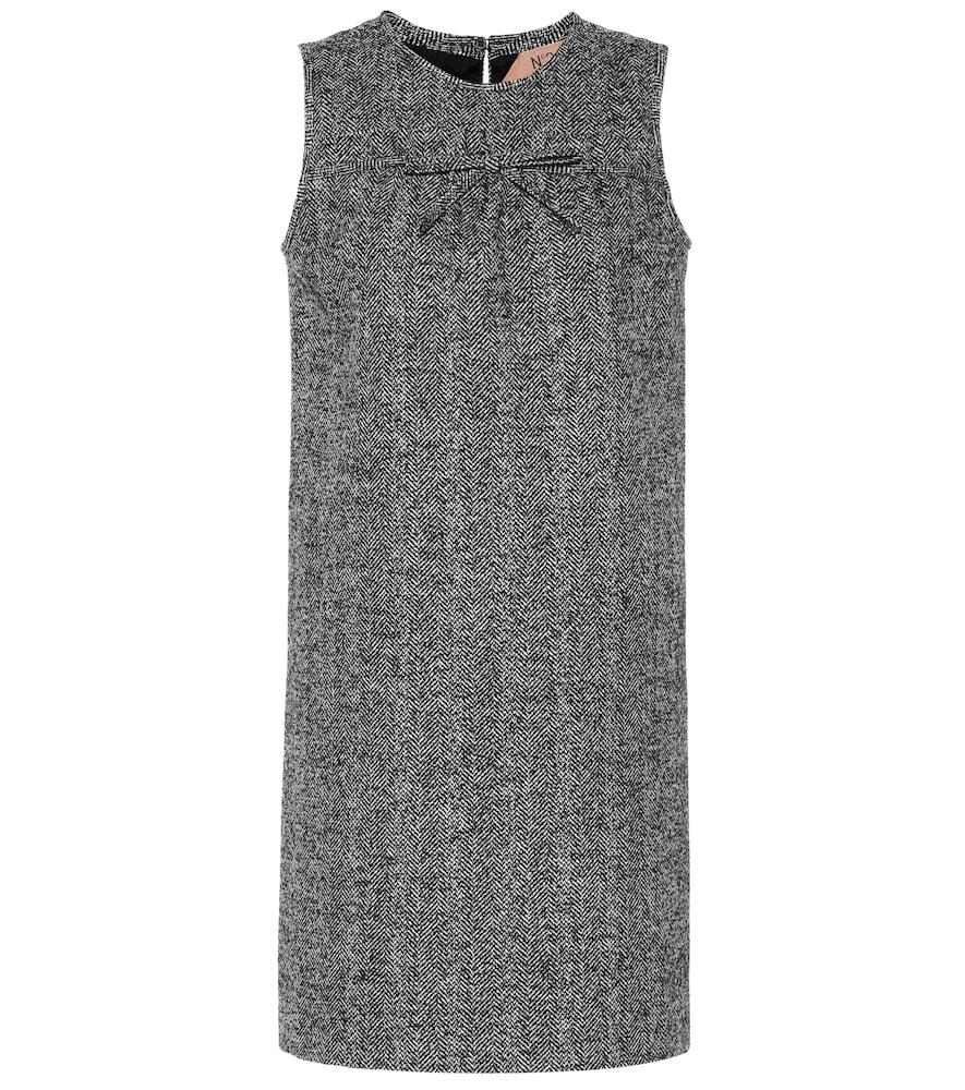 Herringbone wool-blend minidress