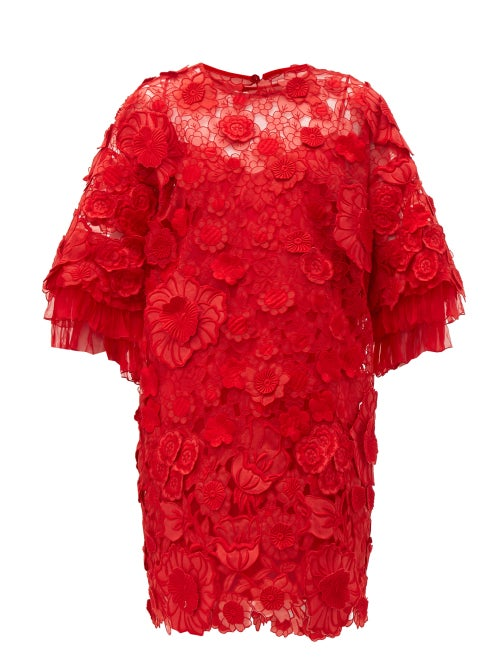 Valentino - Guipure Floral Appliqué & Mesh Mini Dress - Womens - Red