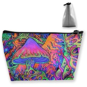Makeup Bag Toiletry Pouch Cosmetic Bag with Mushroom Plants Printed Patterns