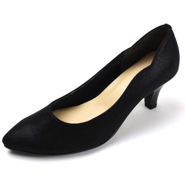 [shoefantasy] 日本製 サイドスカラップパンプス 6cmヒール シンプル 柔らか 低反発クッション 楽チン 美脚 合皮 black 24cm