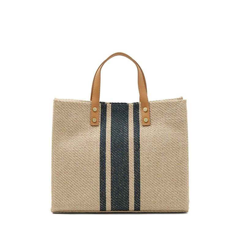 女士手提公文包OL職業商務通勤條紋簡約方形帆布大包包單肩 H37