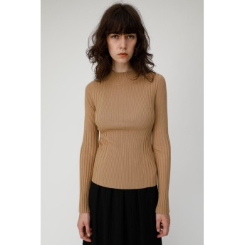 マウジー moussy SWITCHING RIB H/N KNIT (ベージュ)