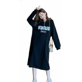 [CARLIE KLOSS] ワンピース レディース 秋冬 パーティードレス ロング トレーナー パーカー ファッション ハイネック 韓国風 上品 オシャレ 可愛い ブラック Free