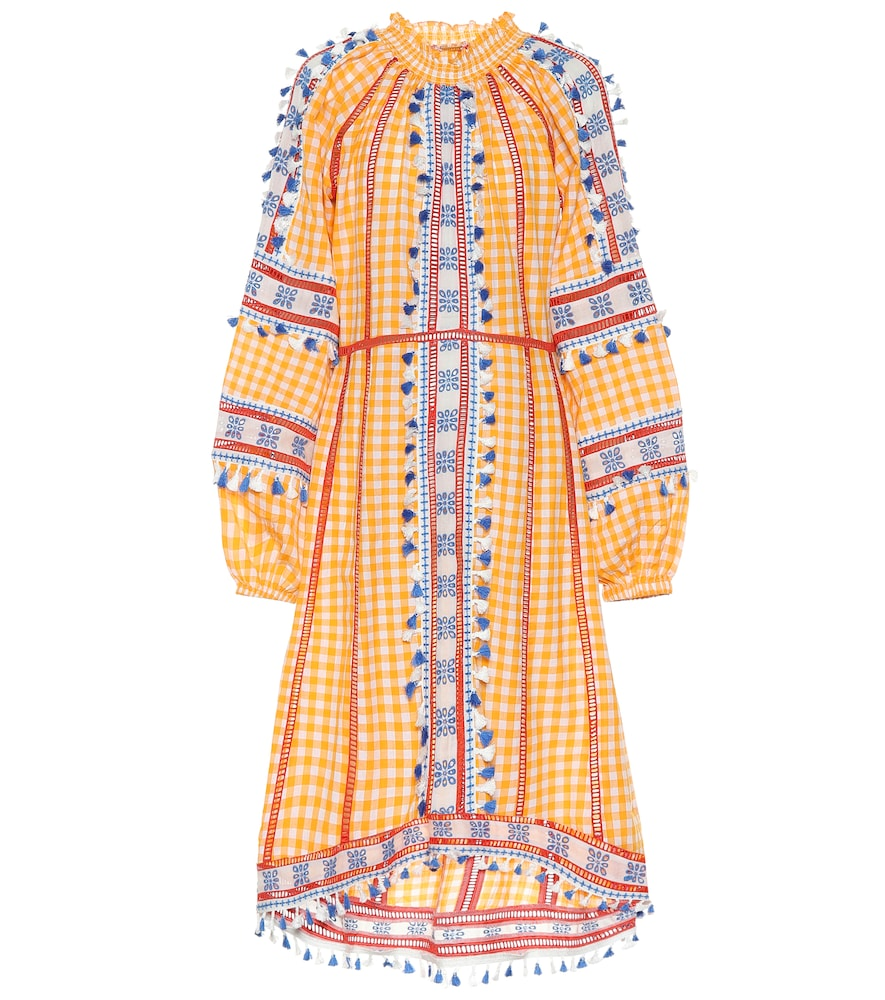 Embroidered cotton midi dress