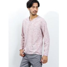 【TAKA-Q:トップス】トリッキーランダムテレコ ダブルVネック長袖Tシャツ