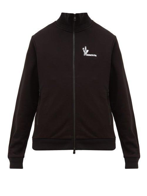 Moncler - Logo-print Cotton-jersey Sweater - Mens - Black