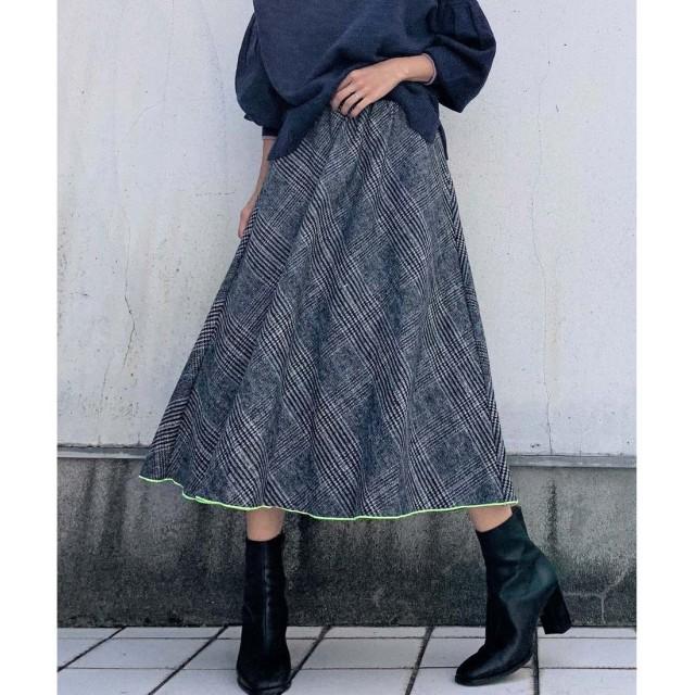 Q グレンチェックフレアスカート(ブラック系)【返品不可商品】