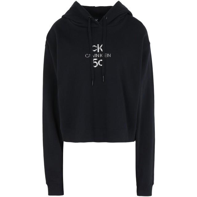 《セール開催中》CALVIN KLEIN JEANS レディース スウェットシャツ ブラック XS コットン BCI 100% SMALL LOGO CROPPED