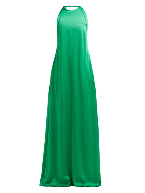 Rochas - Enver Bow-embellished Satin Gown - Womens - Green