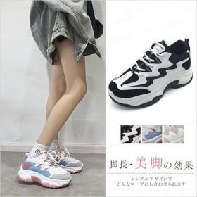 韓国ファッション シューズ レディースファッション厚底スニーカー 靴 軽量 通気性