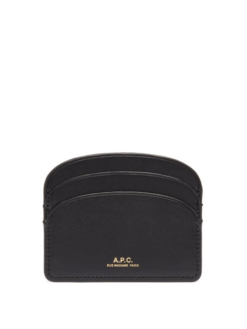 A.P.C. - Half Moon Leather Cardholder - Womens - Black