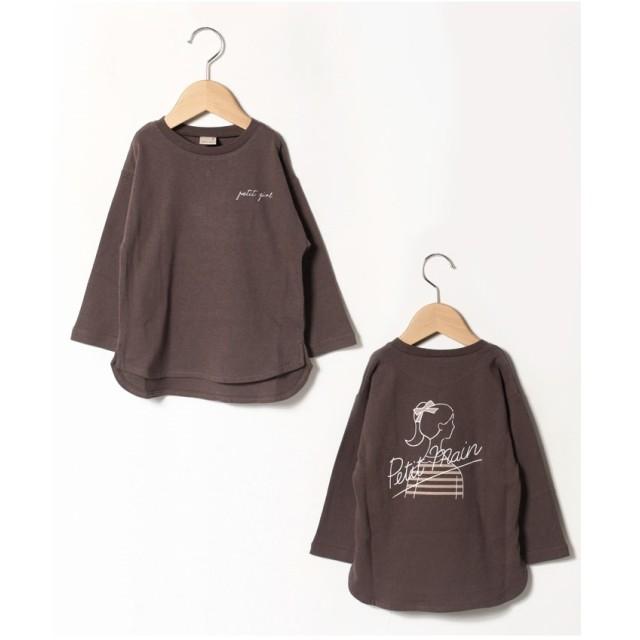 petit main GIRLロゴTシャツ(チャコール)【返品不可商品】