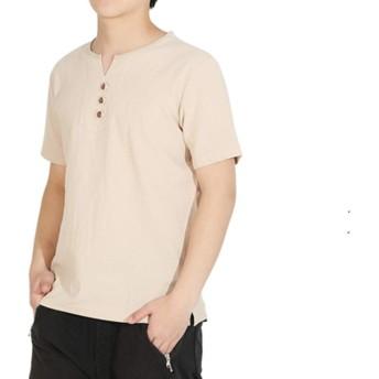 スウェットVネック 綿麻 無地 リネン 3ボタン ストリート系 半袖 Tシャツ メンズ カジュアル 夏服 シャツ (XL(日本サイズS相当), カーキー)