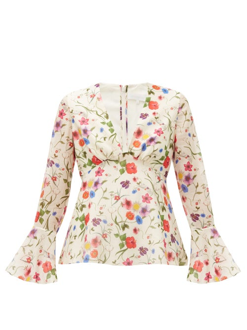 Borgo De Nor - Fleurette Floral-print Cotton-blend Blouse - Womens - White Print