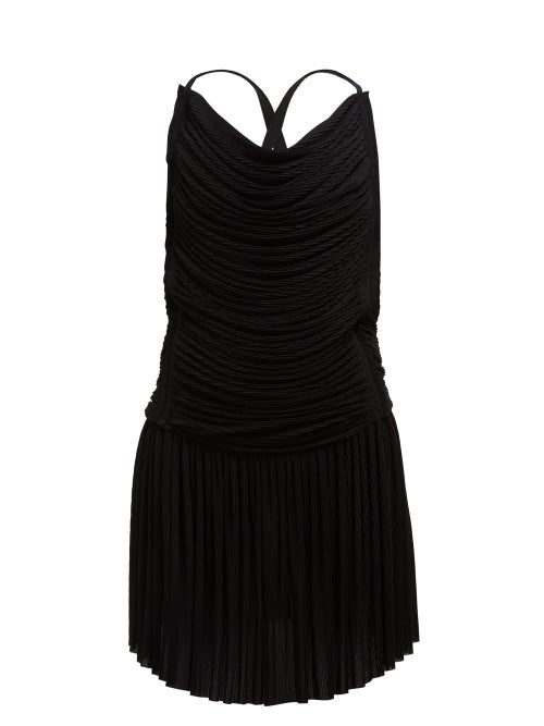 Atlein - Ruched Plissé Mini Dress - Womens - Black