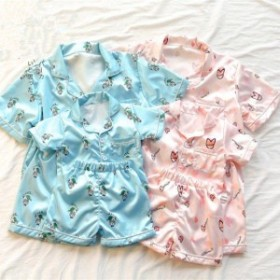 韓國子供服 パジャマ ルームウエア キッズ 女の子 男の子 半袖 半ズボン 可愛い 部屋著 著心地良い 70 80 90 100