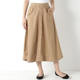 コットンツイル素材のフロントボタンフレアスカート【M~4L】