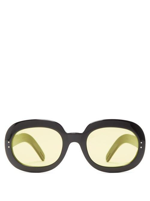Gucci - Oval Acetate Sunglasses - Mens - Black