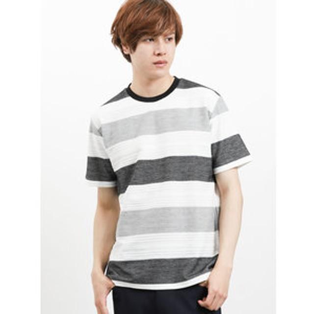 【semantic design:トップス】ヘリンボンボーダー クルーネック半袖Tシャツ