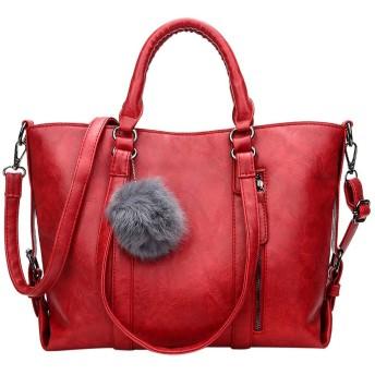 女性のショルダーバッグ婦人用バッグさんデザイナーハイグレードスクラブレザーメッセンジャーバッグ毛玉婦人用バッグ-のトップ、レッド