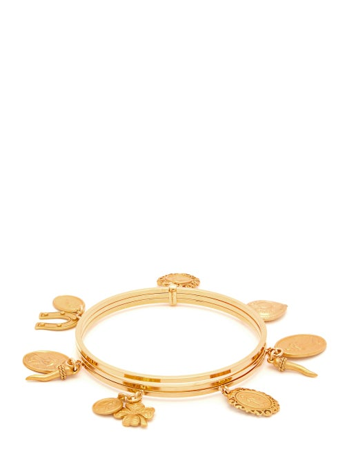 Dolce & Gabbana - Charm-embellished Metal Bangle - Womens - Gold