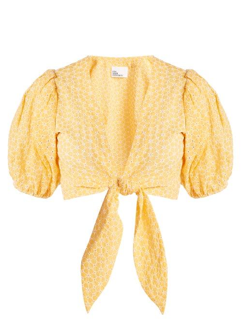 Lisa Marie Fernandez - Puff-sleeved Tie-waist Cotton Blouse - Womens - Orange White