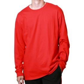Champion(チャンピオン) ロングスリーブTシャツ メンズ ワンポイントロゴ ベーシック 長袖 Tシャツ M レッド