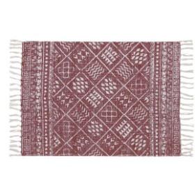 ラグマット/絨毯 【70cm×50cm レッド】 長方形 コットン製 裏面:スベリ止め加工 TTR-118RD