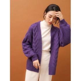 グリーンパークス Green Parks ケーブルざっくりカーデ (Purple)