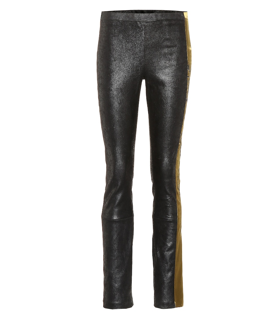 Embroidered leather leggings