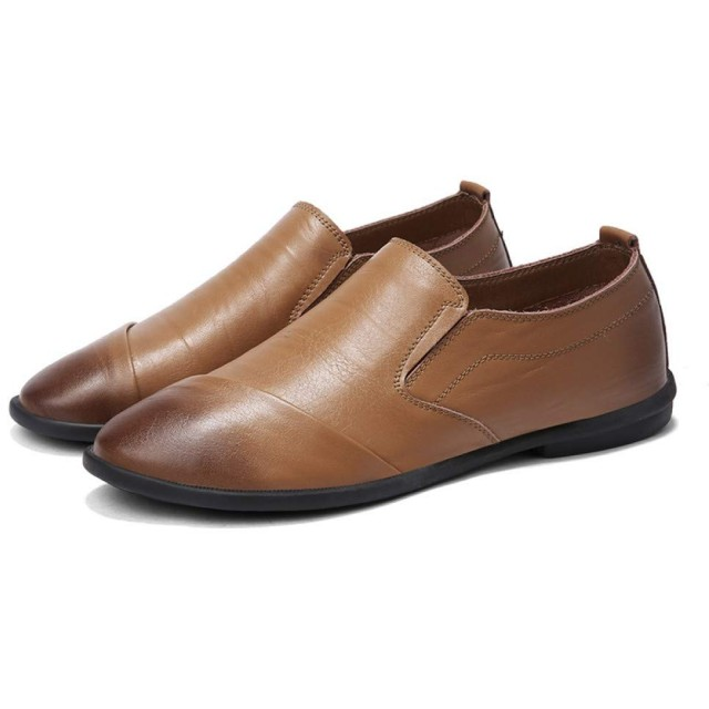 [LINSWARD] カジュアル シューズ メンズ 高級 フォマール レザー シューズ 人気 紳士靴 就活 ローカット 抗菌 通気性 会社 革靴 (カーキ) 26.0cm