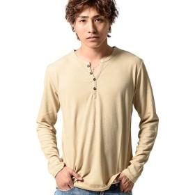 (ビッチ)VICCI メンズ ロンT Tシャツ ヘンリーネック ハニカム シンプル 長袖 無地VIJP19-10 48(XL) BEG(ベージュ)【+】
