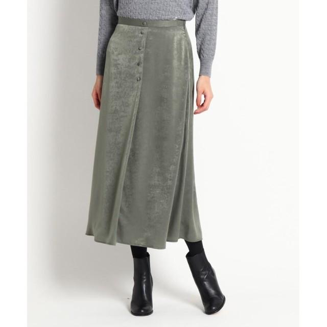 Dessin(Ladies)(デッサン(レディース)) 【S~Lサイズあり、洗える】飾りボタンマロンサテンAラインスカート