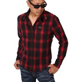 (バンソン) VANSON クロスボーン ワンポイント刺繍 チェック ツイルシャツ NVSL-803 レッドチェック L