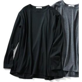 汗染み軽減加工をほどこした フレアーロングTシャツ〈ブラック〉 IEDIT[イディット] フェリシモ FELISSIMO