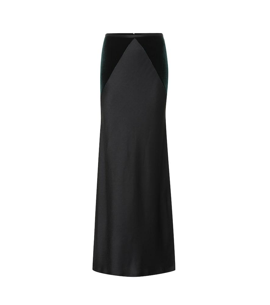 Satin and velvet maxi skirt