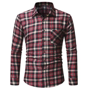 YAXINHE Men Brushed Button-Up Long-Sleeve Regular-Fit Plaid Western Shirt Red L