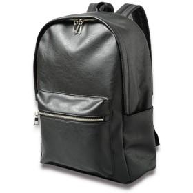 [VIVA-ILL] 大容量 シンセティック レザー リュックサック バックパック メンズ レザーリュック デイパック バッグ 20L ブラック 黒