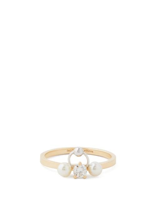 Delfina Delettrez - Two In One Diamond, Pearl & 18kt Gold Ring - Womens - Pearl