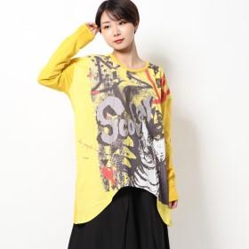 スカラー ScoLar サングラス猫ロングスリーブTシャツ (マスタード)