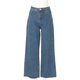 CHILLE 裾カットオフシンプルデニムワイドパンツ(ブルー)