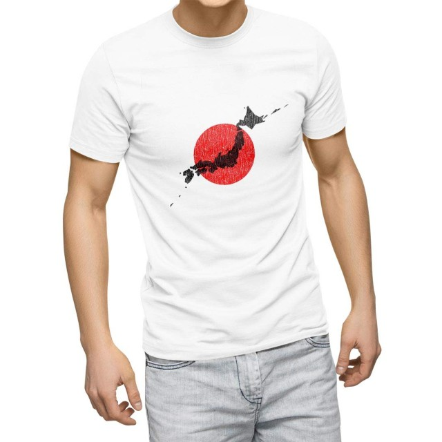 igsticker プリント Tシャツ メンズ XL size おしゃれ クルーネック 白 ホワイト t-shirt 013273 日本 地図 日の丸