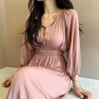 【 ワンサイズ 】 ゆったり デザイン ウエスト レトロ シック ロング ドレス 長袖 70657