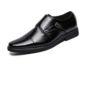 [Yusoi] ビジネスシューズ メンズ モンク 紳士靴 大きいサイズ 防滑 撥水 通気性 履きやすい フォーマル 普段 冠婚葬祭 (ブラック、ブラウン) BK39