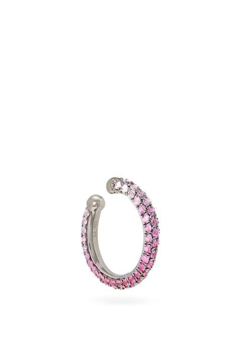 Lynn Ban - Orbital Sapphire, Ruby & Rhodium-plated Ear Cuff - Womens - Pink