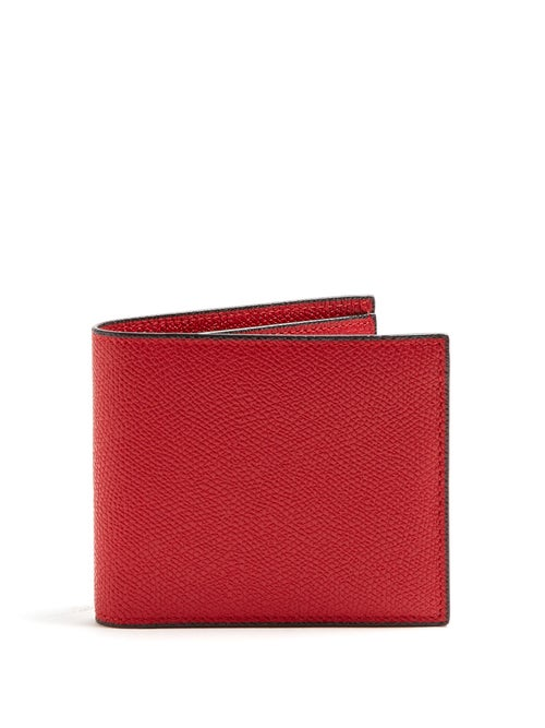 Valextra - Bi-fold Leather Wallet - Mens - Red
