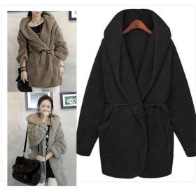 2019年新作! 韓国ファッション ファーコート ジャケット!/ 暖かい/ アウター/ コート/ 全 3色/ 紐ベルト付き/ フード付きファーコート