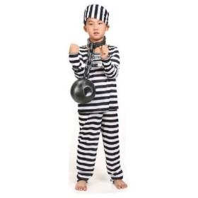 kcab 245upk2 囚人服 コスチューム 長袖 衣装 上下 帽子 セット 子供用 コスプレ 宴会 パーティー ハロウィン(120-130cm)