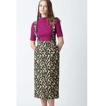 【PINKY & DIANNE:スカート】レオパードジャガードサスペンダースカート