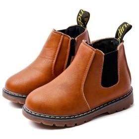 [マリア] ショートブーツ キッズ 子供用 裏起毛 マーティンブーツ マーティン靴 防寒靴 男の子 女の子 イギリス風 ブラウン(裏起毛) 【28】